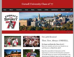 The website is for an alumni class at Cornell University. It takes advantage of a nice instagram feed from the university.